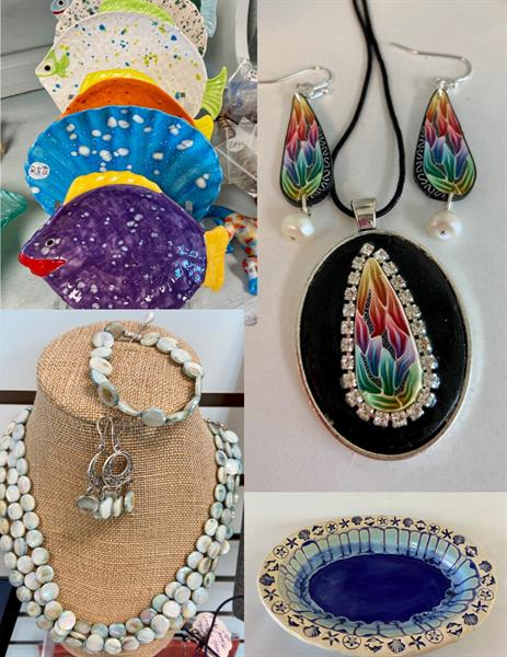 Handmade jewelry, and pottery
