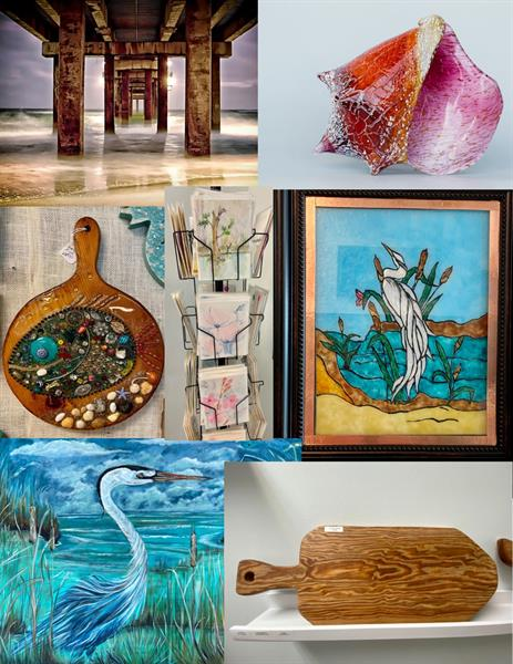 Photographs, resin, paintings, glass
