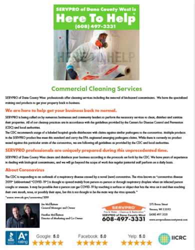 Commercial Cleaning Proactive & COVID-19 https://www.servprodanecountywest.com/blog/#207285