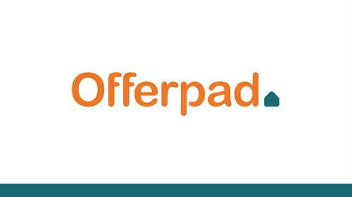 Offerpad logo with green bottom outline