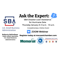 Mississippi Gulf Coast Chamber of Commerce Presents Ask the Expert: SBA Disaster Loan Assistance for Hurricane Zeta