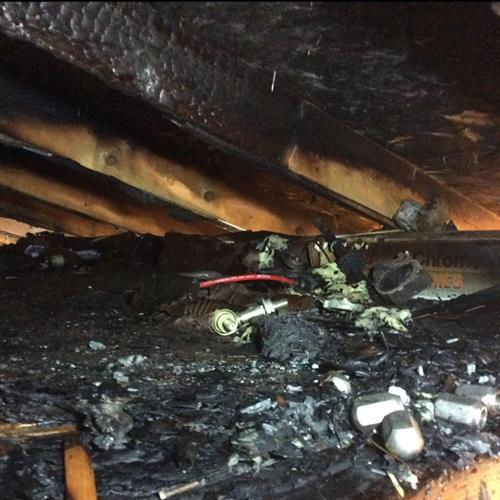 Fire Damage in an attic
