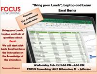 """""""Bring your Lunch"""", Laptop and Learn Excel Basics"""