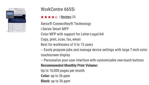 Xerox 6655 color desktop MFP