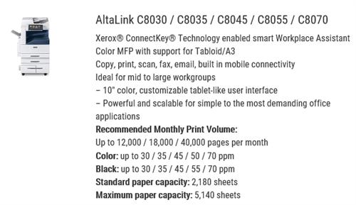 Xerox C8030 color floor model MFP