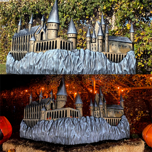 Harry Potter scene we made for an immersive experience, complete with a 9-foot tall by 16-foot long Hogwarts Castle.