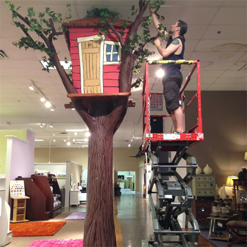 """14' tall """"tree houses"""" we made for a children's furniture store. It's all about the photo opps!"""