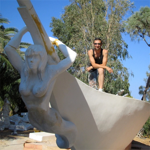 Showpiece for a hotel's recreation area in Crete, Greece. Stands 15' tall.