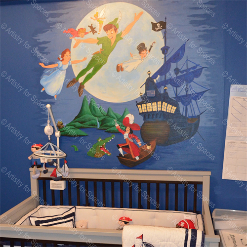 A Peter Pan mural we made for a nursery.