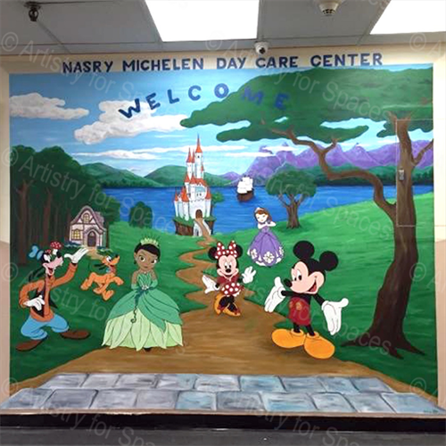 A Disney-themed mural we painted for a day care center.