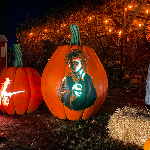 One of our giant-sized Jack O' Lanterns carved with Harry Potter