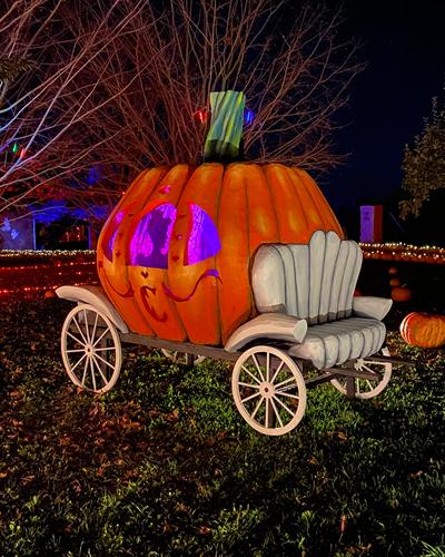 8-foot-tall Cinderella Pumpkin Coach we made for a Fall Festival