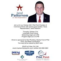 Networking Dinner with Special Guest Speaker, Texas Representative, Jared Patterson