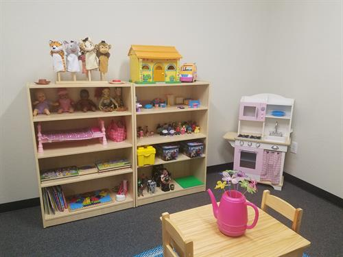 Play therapy room- family miniatures, puppets, dolls, action figures