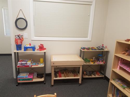 Play therapy room- sand tray, miniatures, games