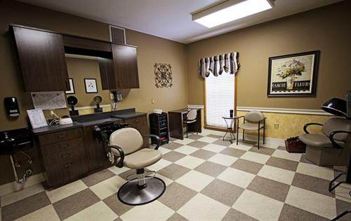 In-house salon and barbershop