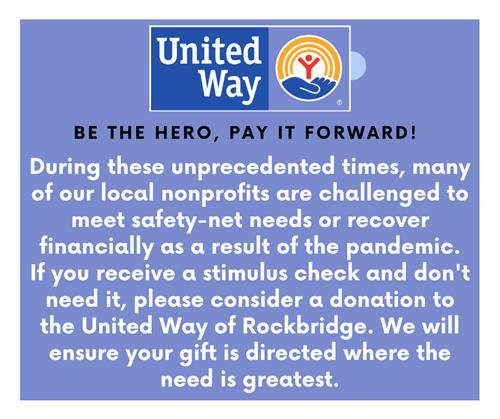 Give online at https://www.uwrockbridge.org/ or mail your gift to: United Way of Rockbridge, P.O. Box 1094, Lexington, VA 24450