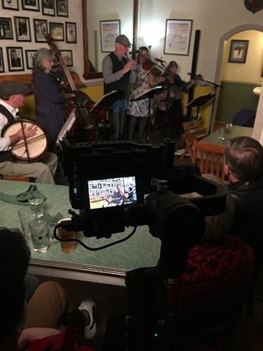 Filming a music show of the Irish band Patina at the Trempealeau Hotel in Trempealeau, WI.