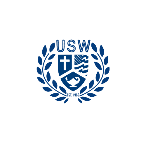 USW Recruiter seal blue color with leaves around in blue