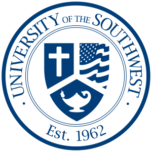 University of the Southwest official Seal, white and blue