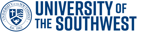 University of the Southwest seal in white and blue with University of the Spelled next to it.