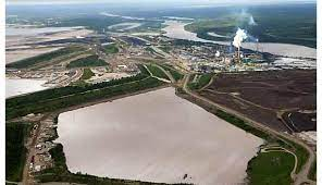 Airial view of Suncor Base Mine tailings pond