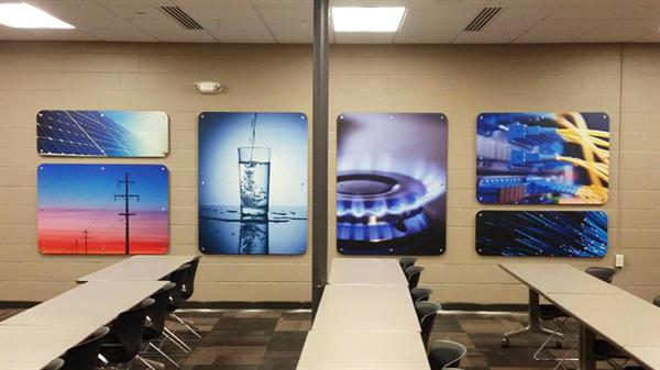Wall decor: boardroom wall panels - mounted to substrate and hung with stand offs