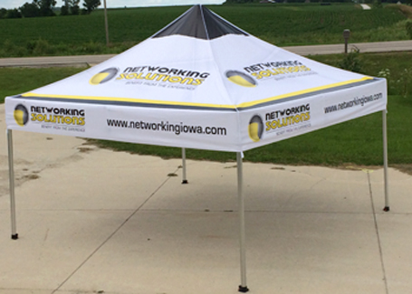Pop up tent: Custom design,1 color to full color tents.  3 sizes to choose from