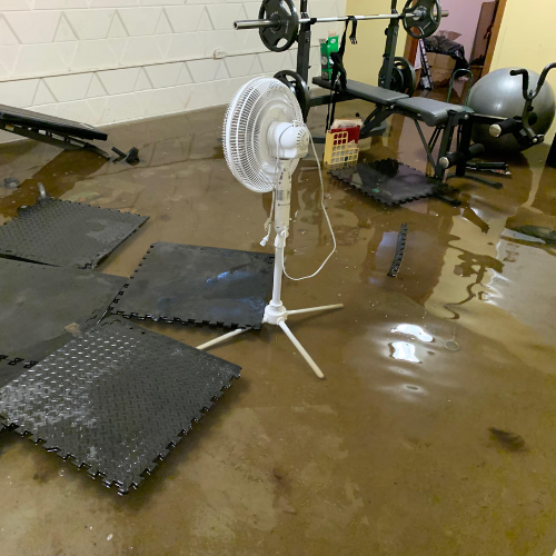 Water damage in home gym.