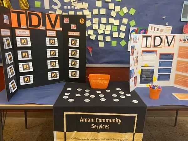 Teen Dating Violence community awareness booth at a local middle school