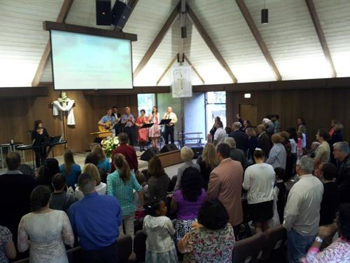 Worshipping in the sanctuary