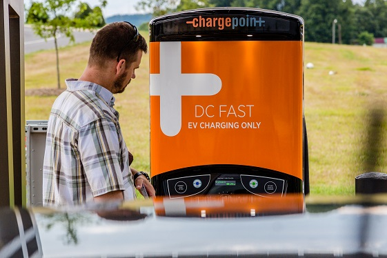 A DC Fast charger for electric vehicles is conveniently located at the Caldwell District Office.