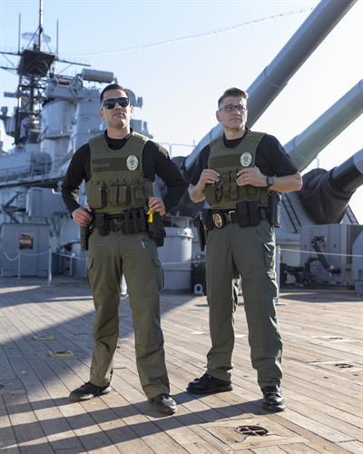 Black Knight Patrol officers aboard the Battleship Iowa Museum