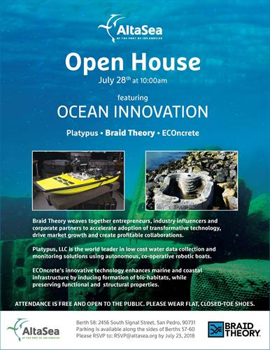 Altasea open house ocean innovation jul 28 2018 san pedro altasea open house featuring ocean innovation with platypus econcrete and braid theory publicscrutiny Image collections