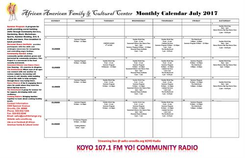 Our Monthly Calendar for July, 2017