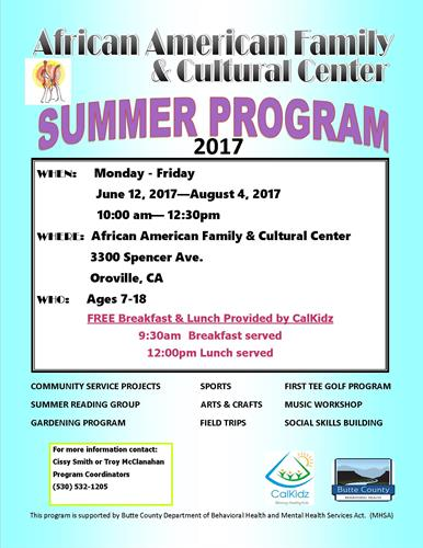 Free Breakfast and Lunch served to youth ages 7-18 served at 9:30am and Noon, Monday - Friday
