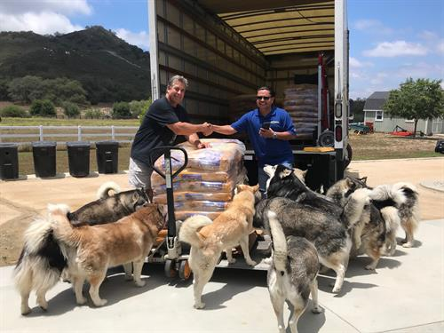 Donating food to Shadow Husky Rescue