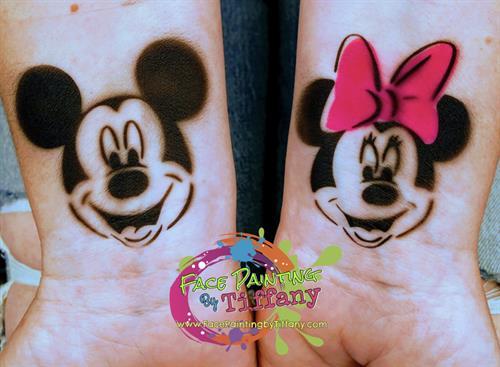Mickey and Minnie Airbrush Tattoos