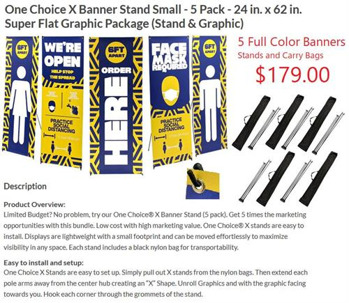 5 Banners with stands and carrying cases.