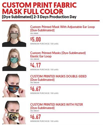 Imprinted Face Masks - Minimum 100 (3 day service)