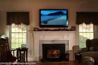 "Family Room:  Simple 50"" Flat Screen over Mantel"