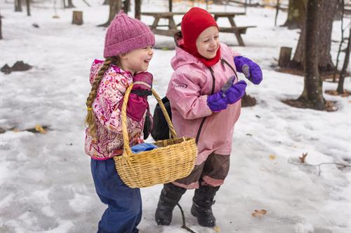 Kindergarteners go outside in all weather!