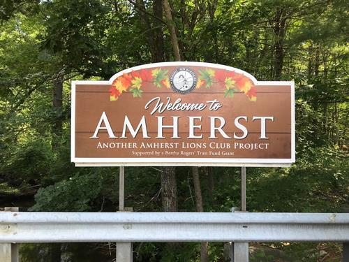 Amherst Lion's Club Flower Bridge sign
