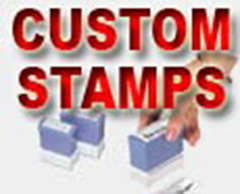 Black, Red, Blue and Green inked stamps done in-house.  Rush service available.