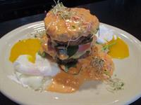 From our BRUNCH menu, Crabcake and Eggplant Napoleon with Poached Eggs