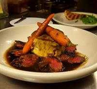 Skirt Steak with polenta Cake and Roasted Veggies