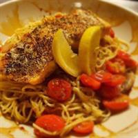 Chargrilled Salmon over Cappellini Pomodoro with Balsamic Glaze