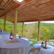 Sky Ridge Pavilion covered terrace with sweeping views of Cedar Creek Valley