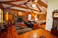 Themed cabins with wood burning fireplace