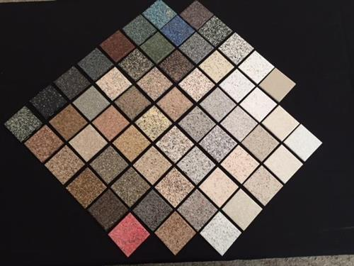 60 Multi Stone patterns from which to choose. Standard colors and solid custom colors also available.
